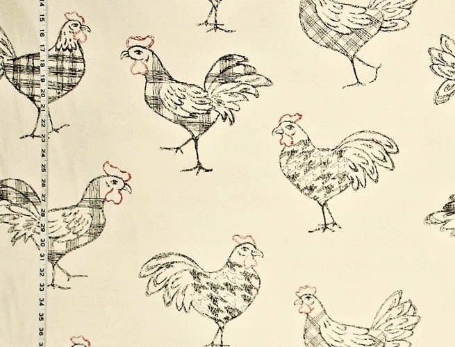 Plaid Rooster Fabric