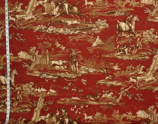 Red Hunting Toile Fabric