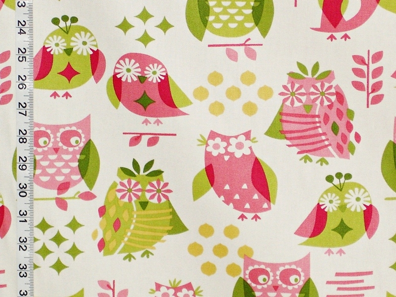 PINK OWL FABRIC