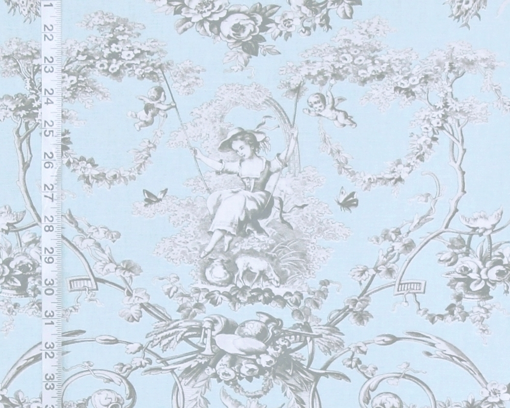 green toile curtains