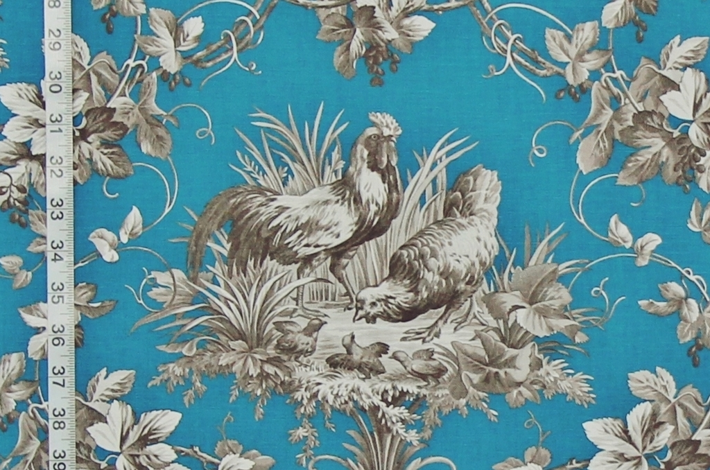 French Country Fabrics Part - 50: Blue Rooster Fabric A French Country Chicken Toile