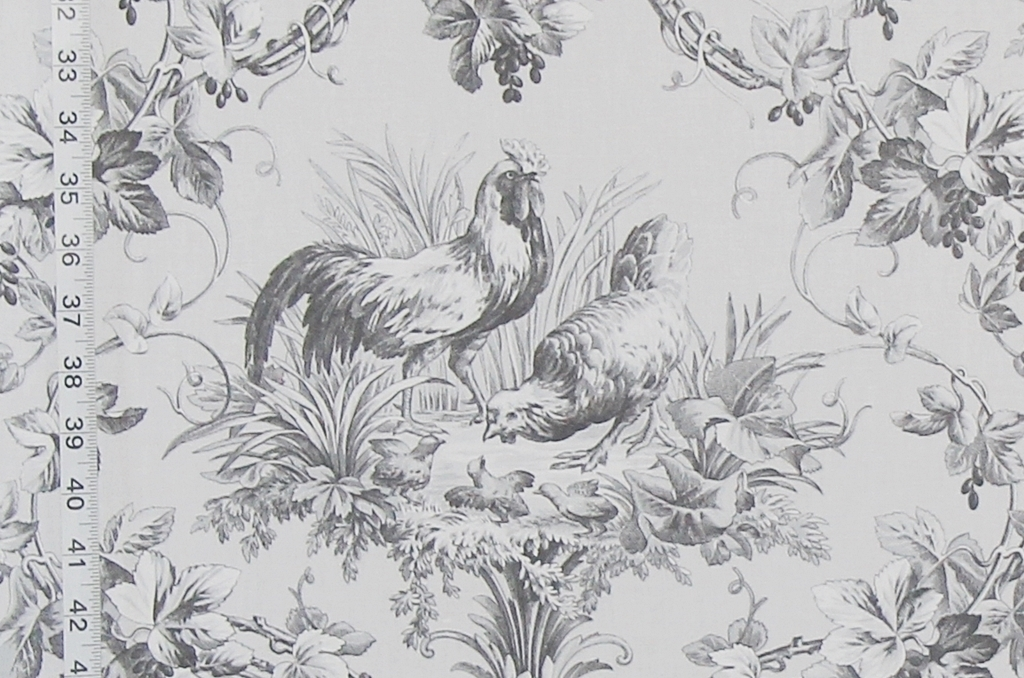 Amazing French Country Fabrics Part - 6: Grey Rooster Fabric, A French Country Toile