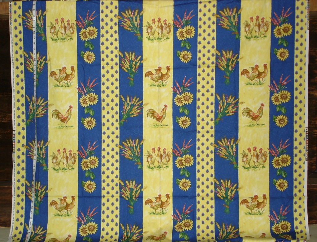 Striped Provence Rooster Fabric