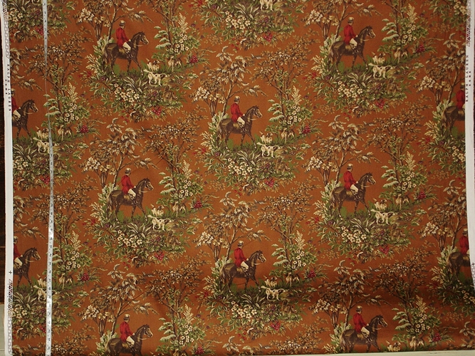Ainsworth Horse Toile Fabric in Buckskin Brown