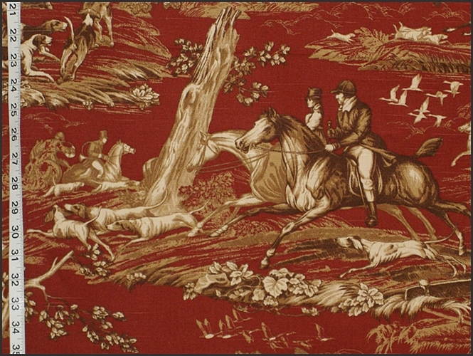Red Horse Hunt Fabric
