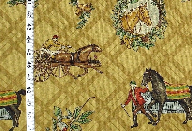 TROTTING HORSE and SULKY FABRIC
