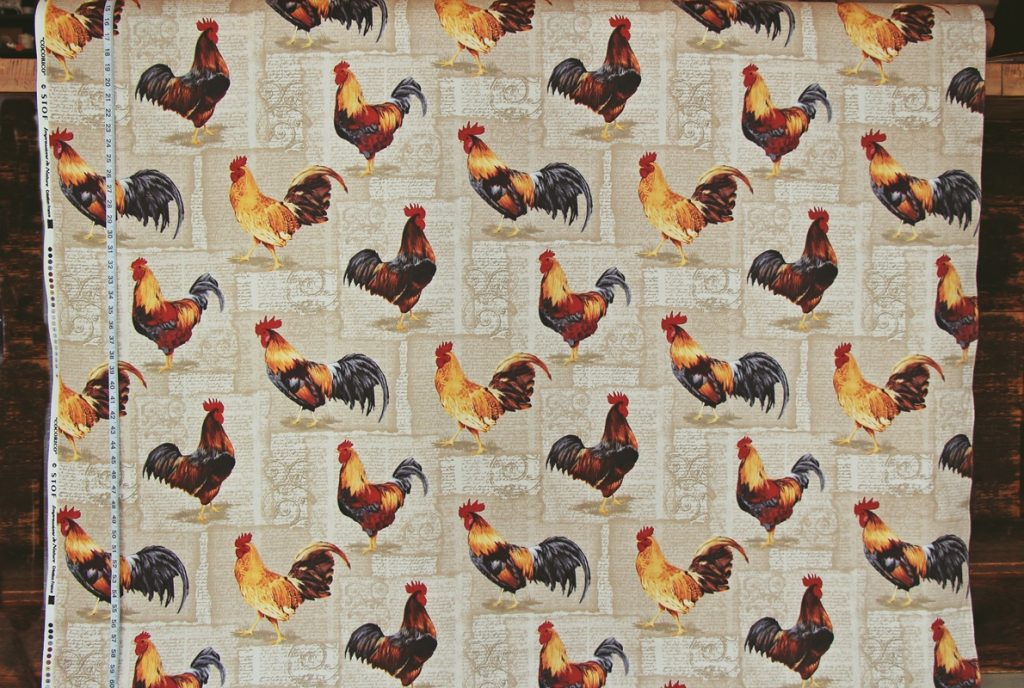 FRENCH ROOSTER FABRIC- DOCUMENT PRINT