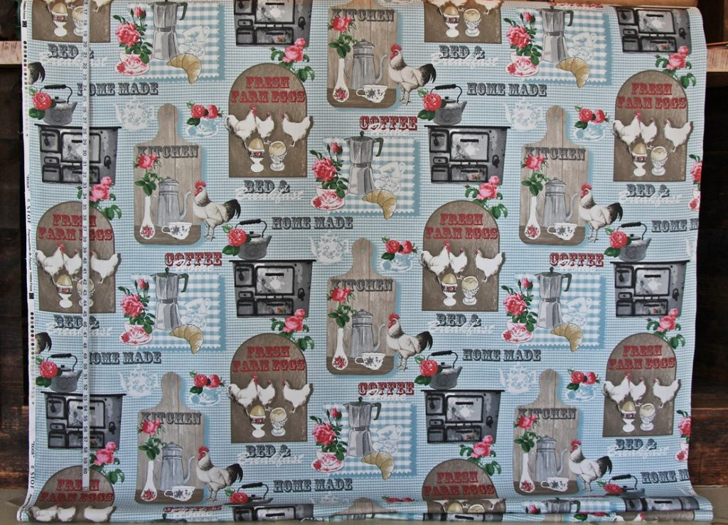 BLUE RETRO CHICKEN FABRIC