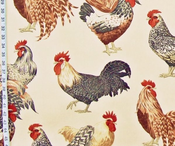 Beige Rooster Fabric