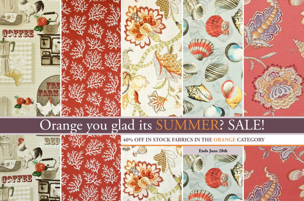 Orange Fabric Summer SALE Discount Fabric