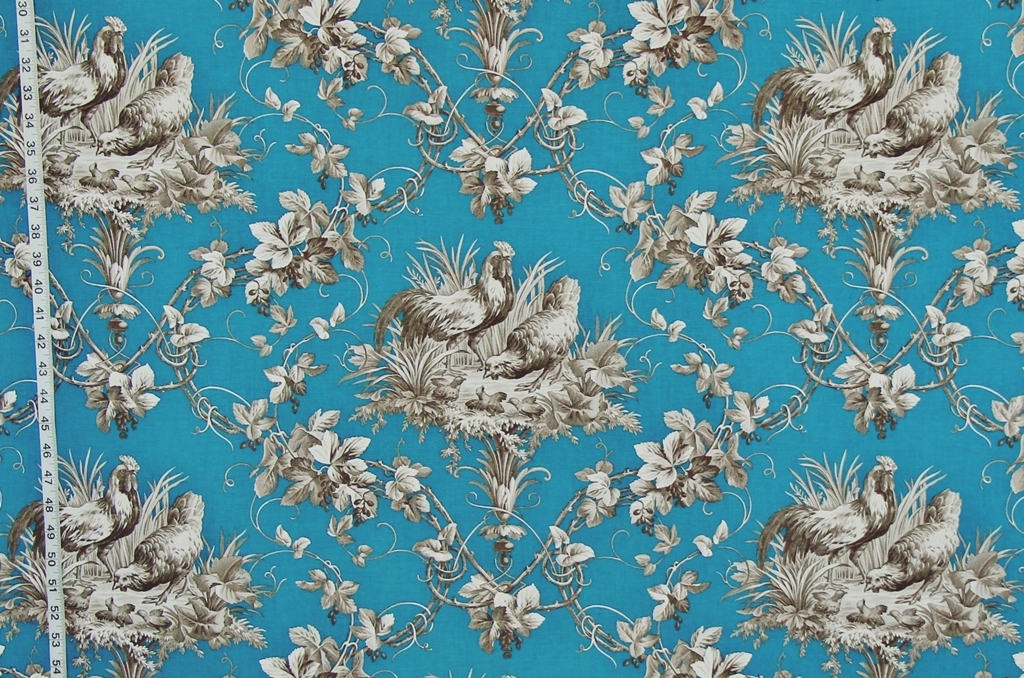 Blue French rooster chicken fabric