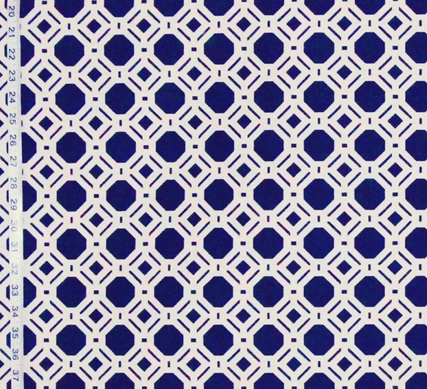 Reversible navy blue lattice fabric