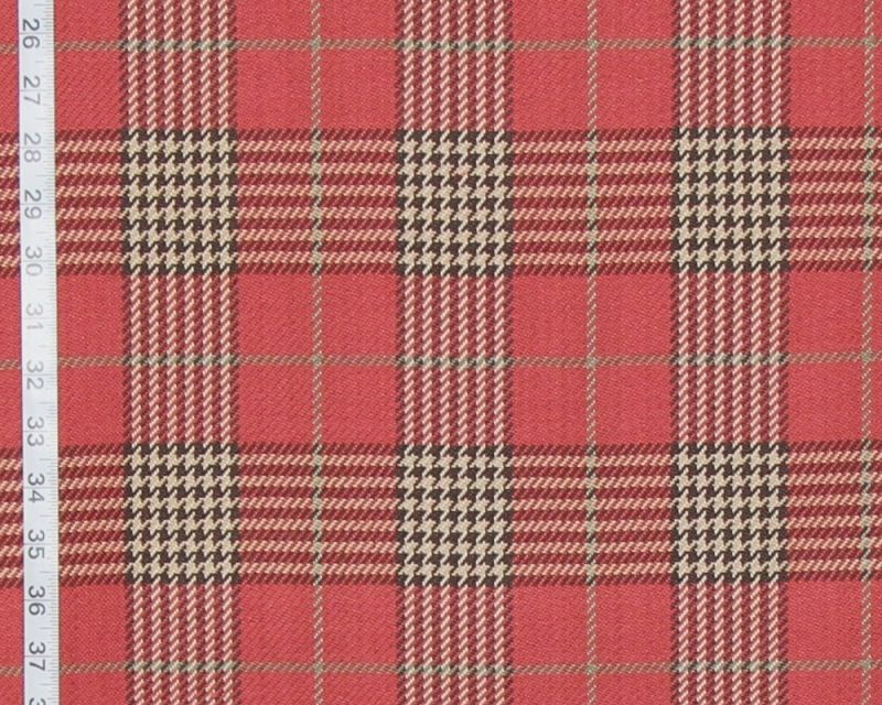 Red houndstooth plaid fabric