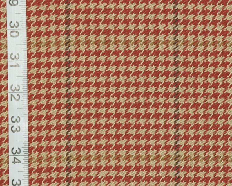 Red houndstooth window pane plaid fabric