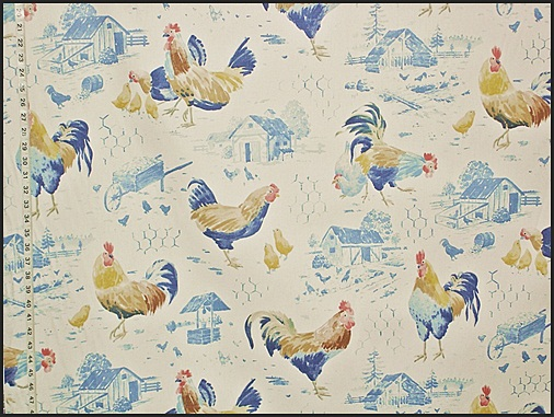 BLUE CHICKEN WIRE ROOSTER TOILE FABRIC