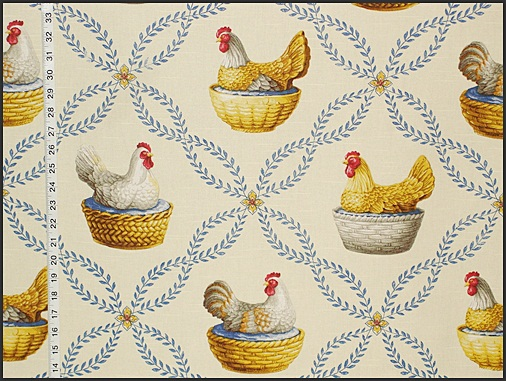 Vintage Milk Glass Chicken Fabric