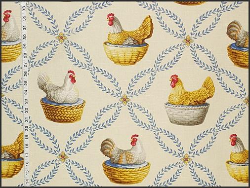 Vintage Milk Glass Chicken Fabric