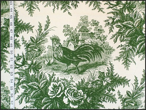 Stroheim and Romann Green Rooster Toile Fabric
