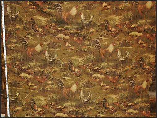 WOVEN CHICKEN ROOSTER FABRIC