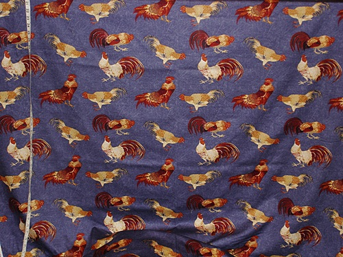 KINGSWAY'S BLUE DENIM ROOSTER FABRIC