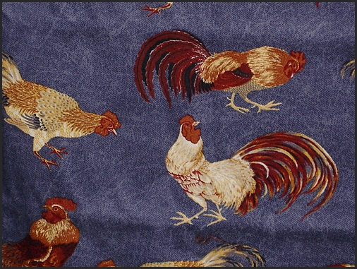 Denim Rooster Fabric