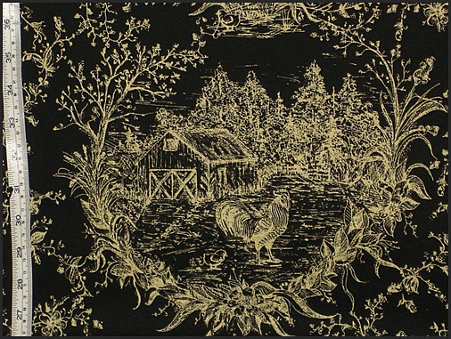 BLACK ROOSTER COUNTRY TOILE FABRIC
