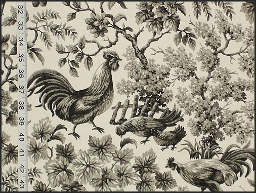COVINGTON ROOSTER TOILE FABRIC, CHARCOAL ON CREAM
