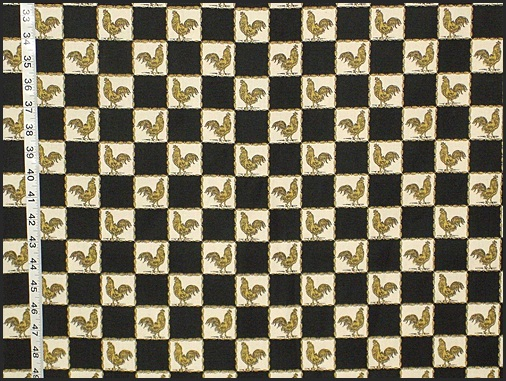 Black and White Gold Rooster Fabric