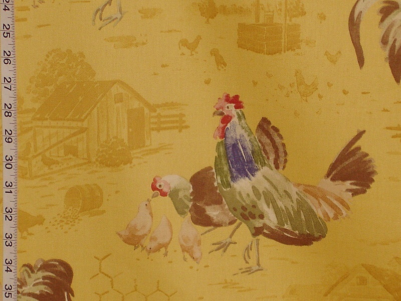 Yellow Country Chicken Fabric