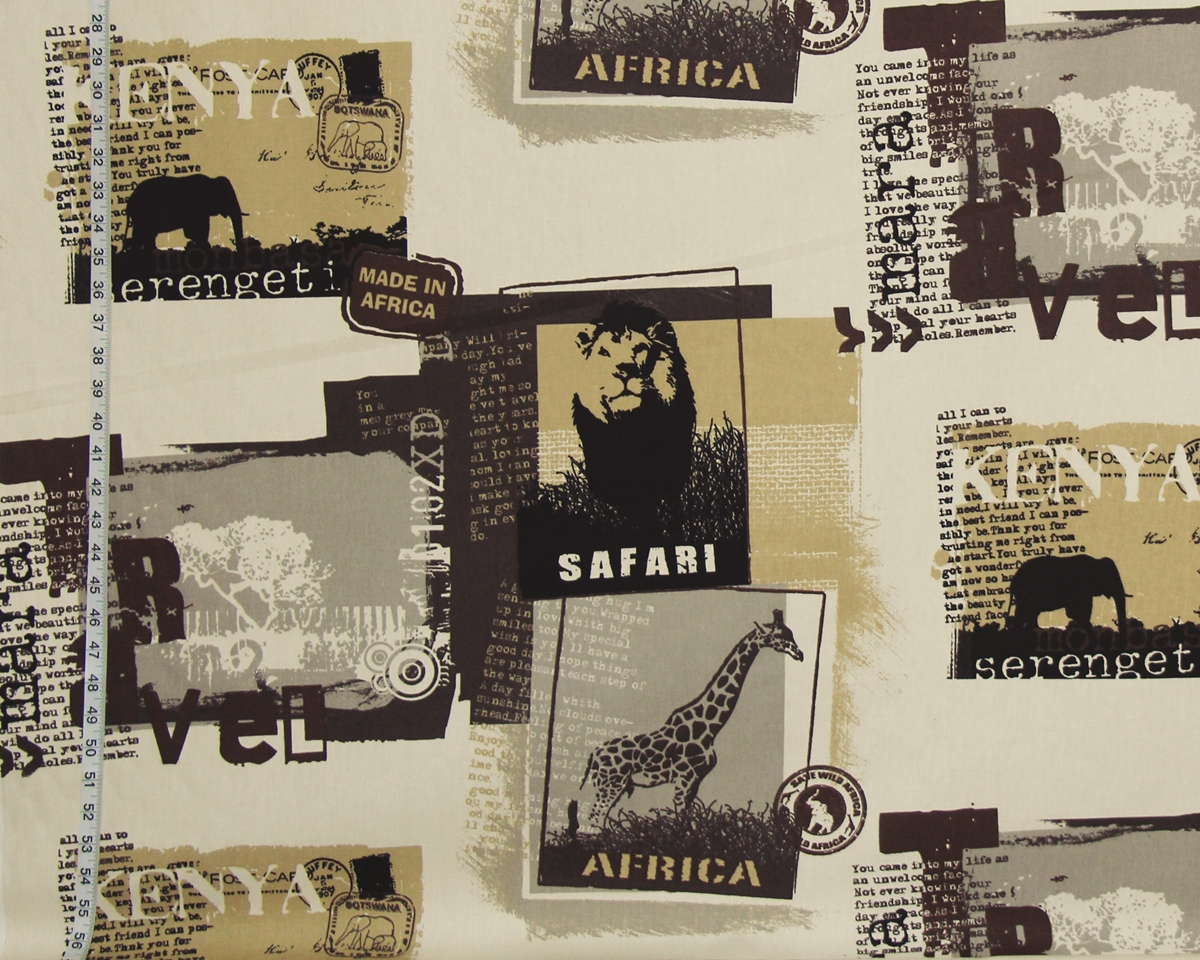 AFRICAN SAFARI TRAVEL POSTER FABRIC