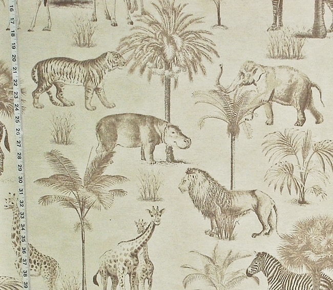 AFRICAN ANIMAL CHARCOAL TOILE FABRIC
