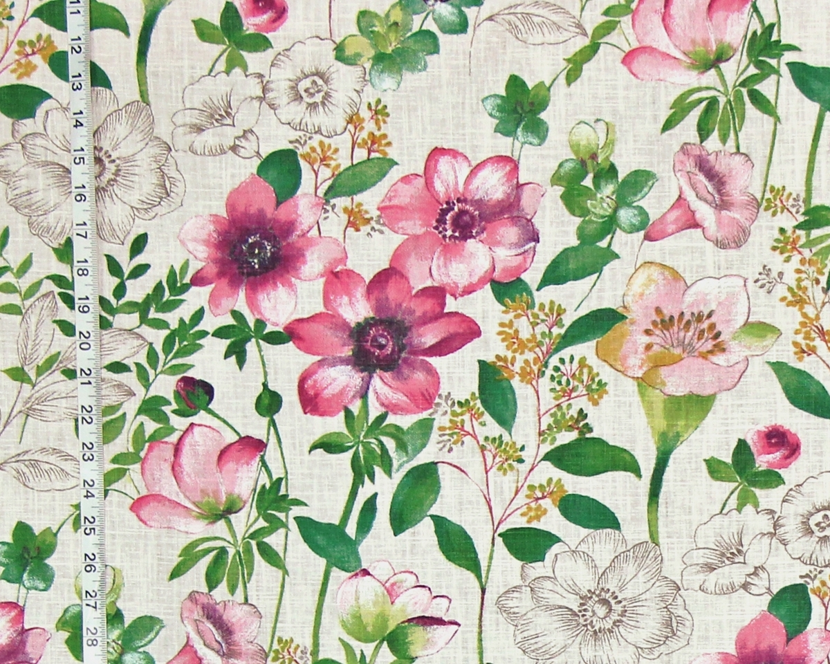 Pink floral fabric toile anemone meadow gentian nature watercolor ...