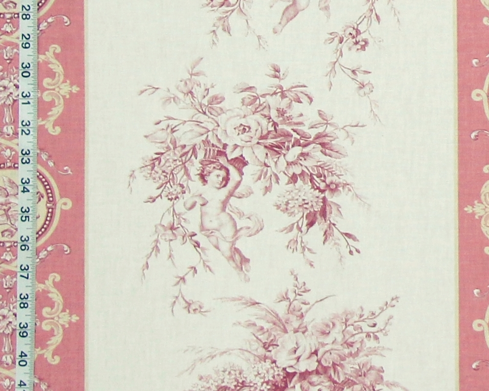 French Angel Toile Fabric Violet Pink Stripe