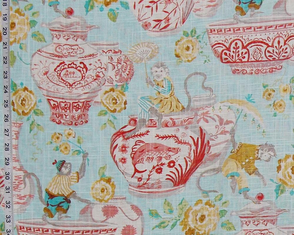 ORANGE CANTON CHINA with MONKEY FABRIC