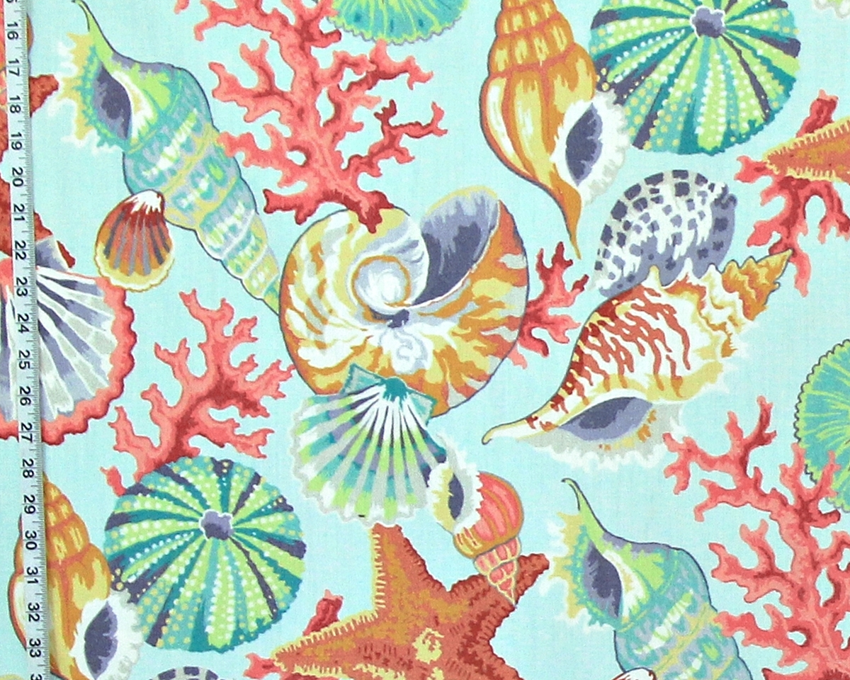 AQUA SEASHELL CORAL FABRIC
