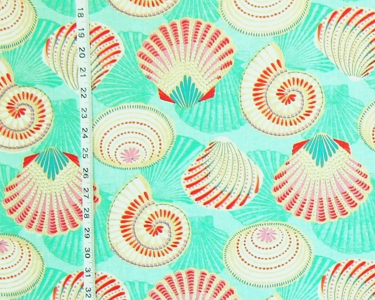AQUA CARNIVAL SEASHELL FABRIC