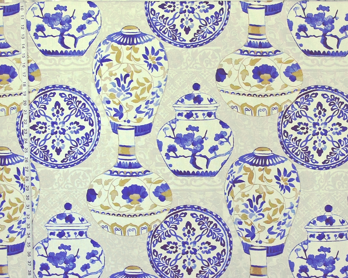 Pink Asian Porcelain Fabric Blue Porcelain Fabric