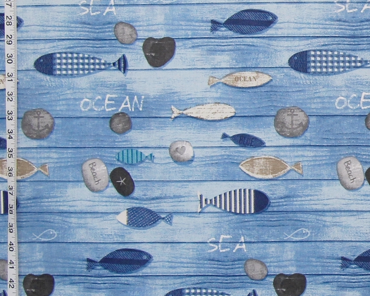 BLUE BEACH FISH FABRIC