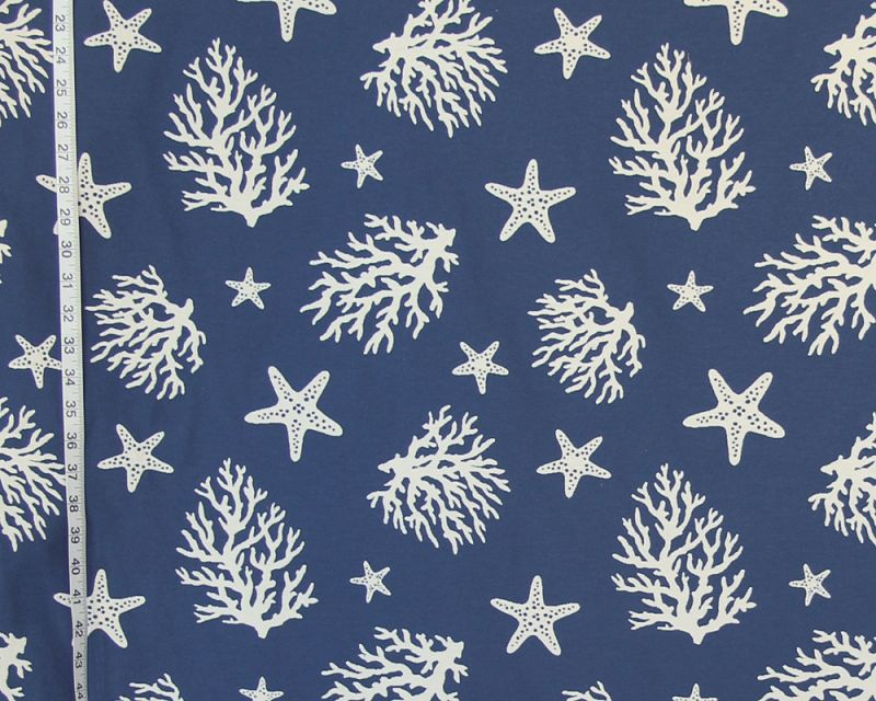 Dark Blue Coral Starfish Fabric
