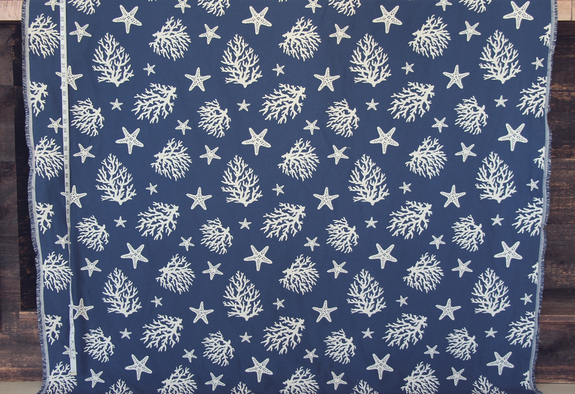 Blue Coral Star Fish Fabric