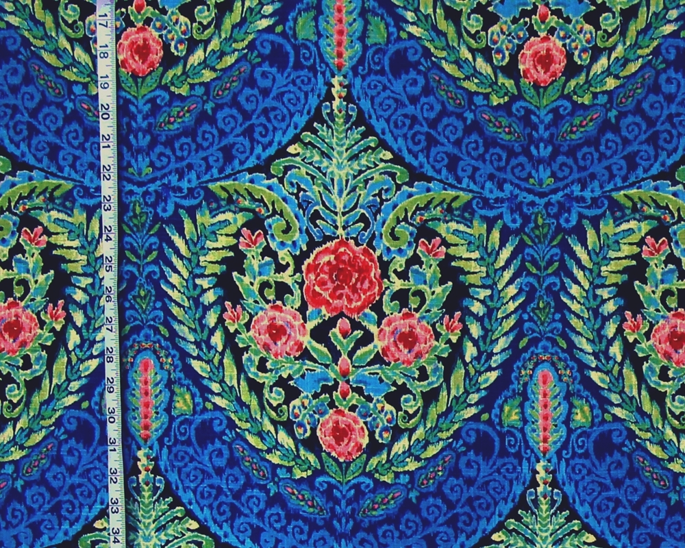 BLUE FLORAL MEDALLION FABRIC