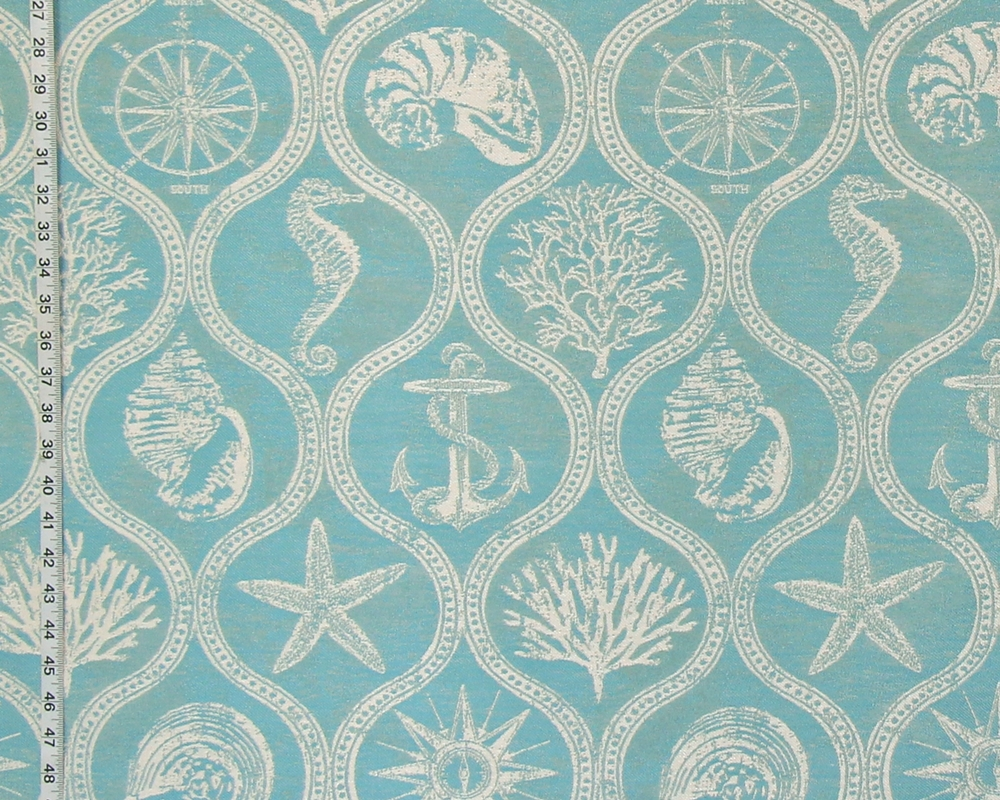 Blue Ocean Fabric Seahorse Nautical Coral Seashell Outdoor