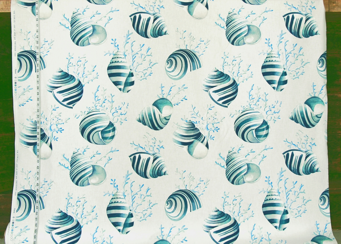 Blue Seashell Coral Fabric
