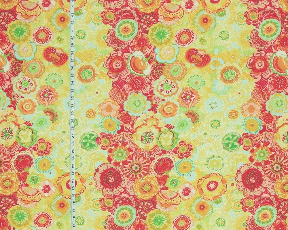 BOHO FLORAL FABRIC IN ORANGE AND YELLOW