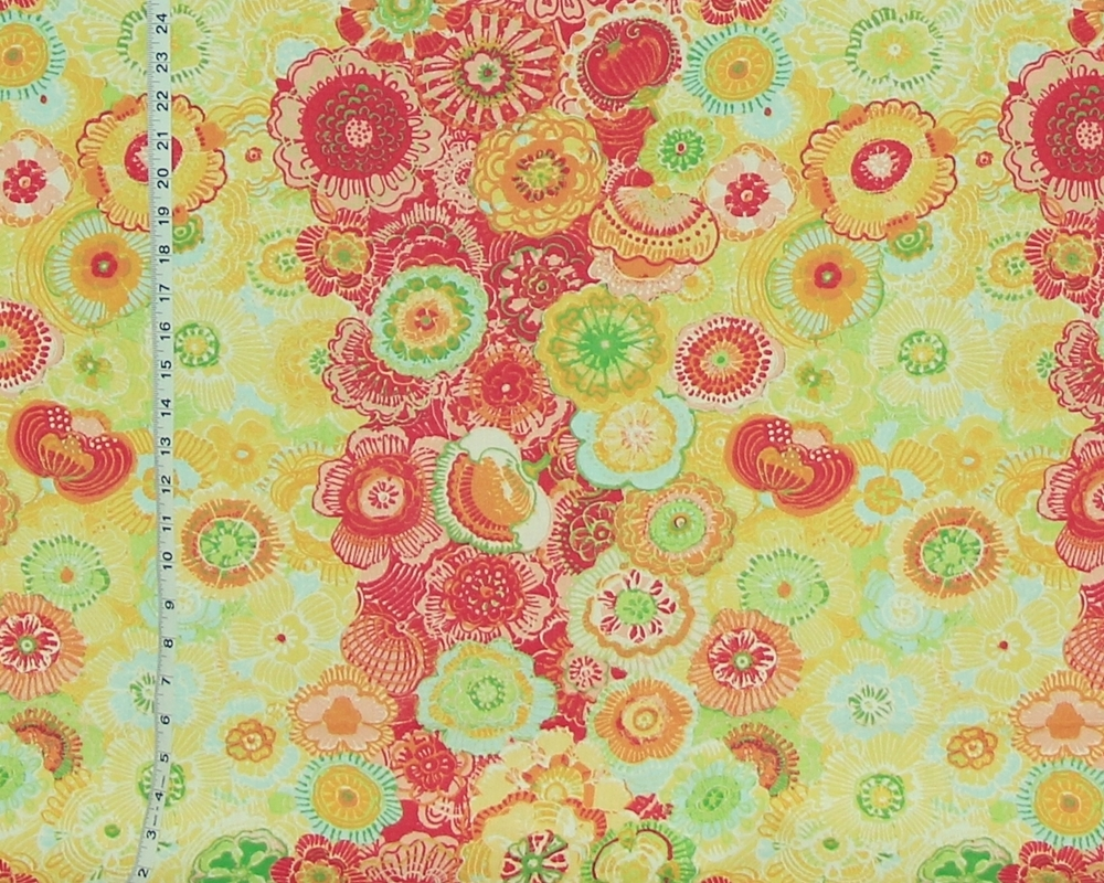 YELLOW BOHO FLORAL FABRIC