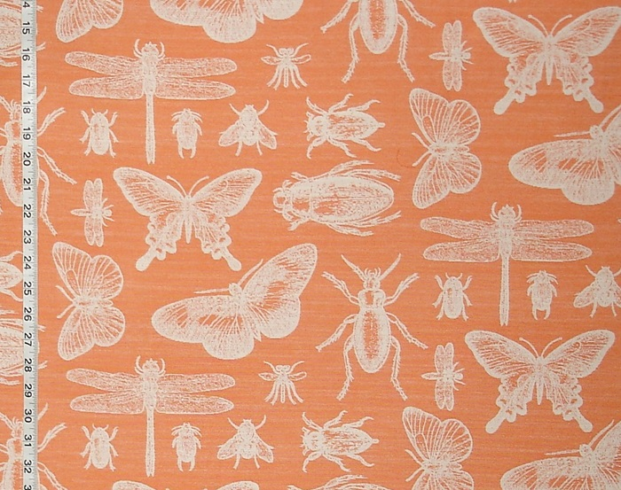 ORANGE UPHOLSTERY INSECT FABRIC