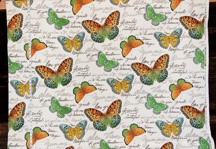 ORANGE GREEN BUTTERFLY FABRIC