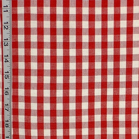 Red and White Checked Fabric- a true gingham fabric