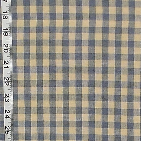 FRENCH CHINA BLUE TAN GINGHAM FABRIC