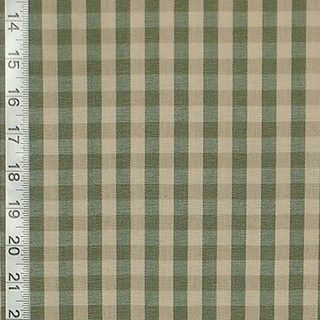 OLIVE GREEN TAN PLAID GINGHAM FABRIC